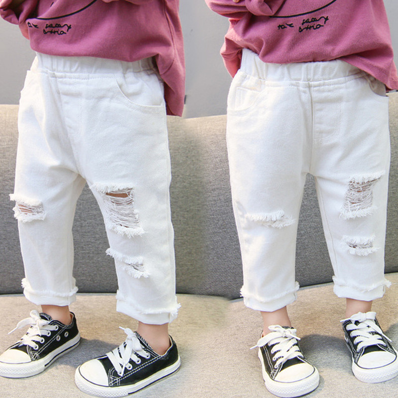 2019 Spring Autumn Baby Girls Ripped Jeans Children Kids Broken Hole Pants White Color Girls Elastic Waist Denim Pants 1