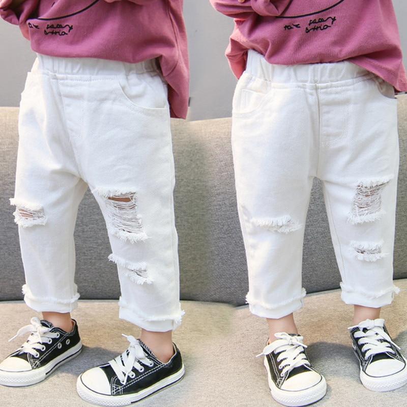 2019 Spring Autumn Baby Girls Ripped Jeans Children Kids Broken Hole Pants White Color Girls Elastic Waist Denim Pants 1