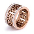 Fashion Trendy Flower Vintage Wedding Rings For Women Classic Design Rose Gold Plated Stainless Steel 2 Row Zircon Crystal Ring