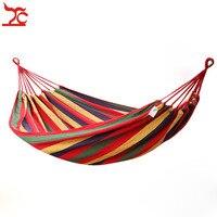 Corda de algodão portátil ao ar livre balanço tecido de acampamento balanço lona listra pendurar cama rede