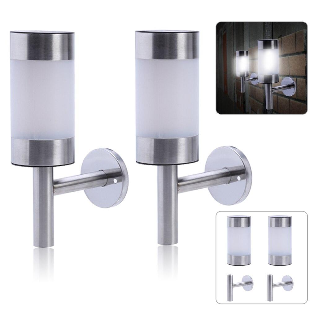 2pcs Stainless Steel Solar powered Light LED Wall Light Fence Lamp Outdoor Garden Lights Secuity Sensor Lamp
