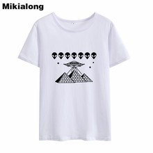 3c8581090b3 Mikialong 2018 Kawaii Alien T-shirt Women Summer Short Sleeve 100% Cotton T  Shirt