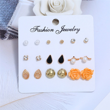 Bohopan 2019 Hot Sales Women Fashion Stud Earrings Set Unique Water For Simple Pearl Jewelry Accessories
