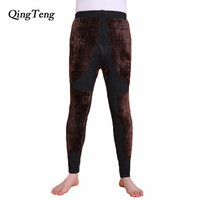QingTeng Thermal Underwear Super Warm Thicken Merino Wool Yarn Knitted High Waist Mens Winter Warm Pants Long Johns Leggings