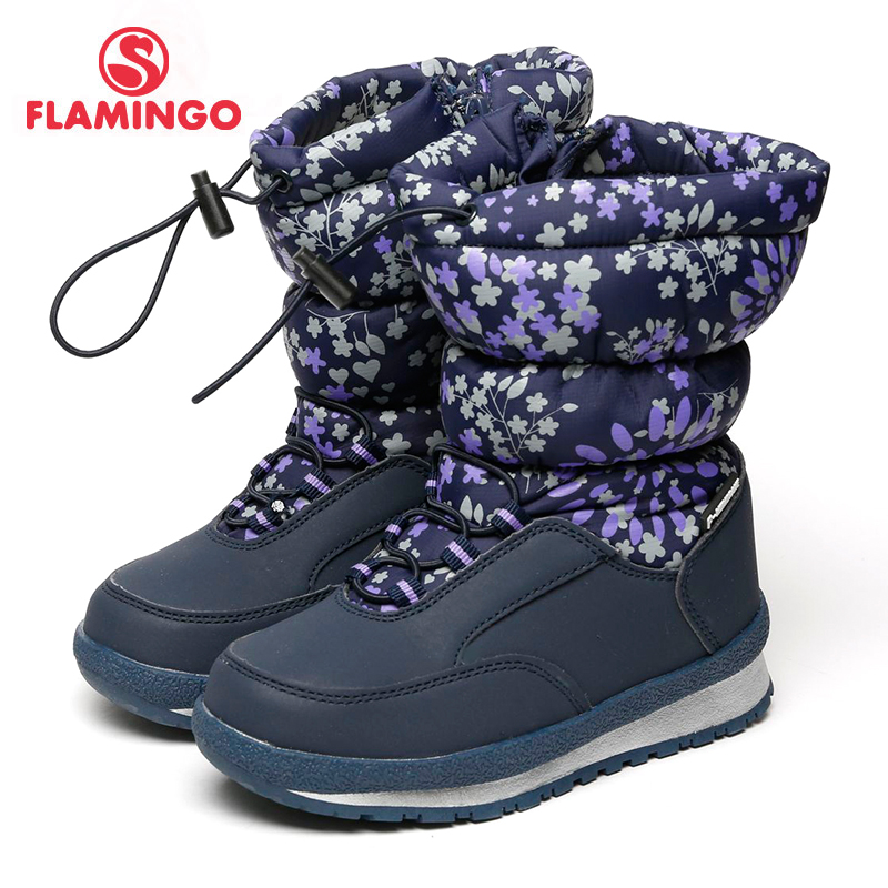 FLAMINGO Waterproof Wool Keep Warm Winter High Quality Shoes Anti-slip Size 29-34 Children Snow Boots for Girl 72M-YC-0432 gsou snow brand winter ski suit men ski jacket pants waterproof snowboard sets outdoor skiing snowboarding snow suit sport coat