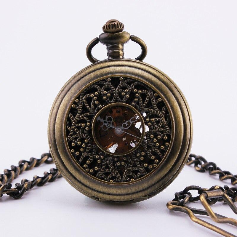 ORKINA Men s Vintage Pocket Watch Roman Number Black Dial Timbo patterned Case Hand Wind Mechanical