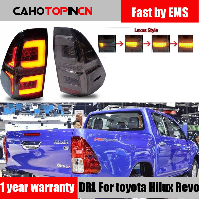 1Pair Car Smoke LED Taillights For Toyota Hilux Revo SR5 M70 2015 2016 2017 2018 Styling
