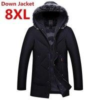 Большой размер 8XL 7XL утолщенная теплая зимняя куртка-пуховик для мужчин с меховым воротником парки Пальто с капюшоном Большие размеры пальт...
