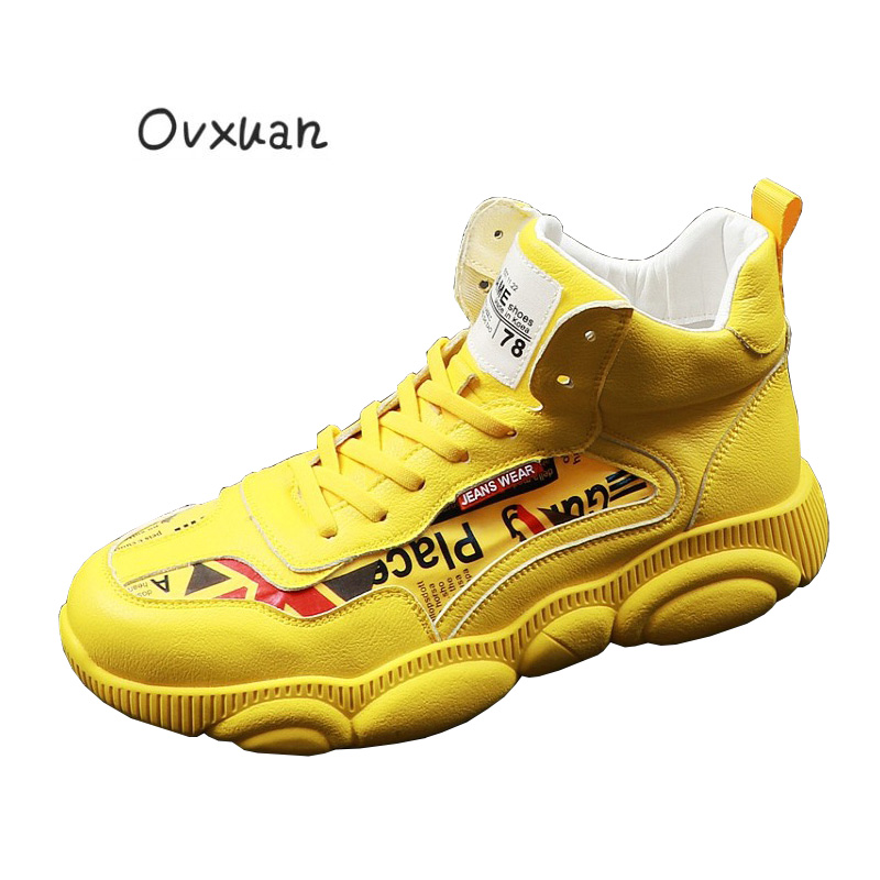 OVXUAN Patchwork Bear Sole Fashion Top High Platform Hip Hop Trainers Sport Edition for Men Dad Shoes Jeans Sneakers Loafers Men