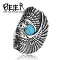 Beier new store 316L Stainless Steel ring top quality popular long eagle bird ring for men middle finger jewelry  BR8-144