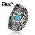 Beier nueva tienda de anillo de acero inoxidable 316l de calidad superior popular de largo pájaro del águila anillo para hombre medio dedo joyería br8-144