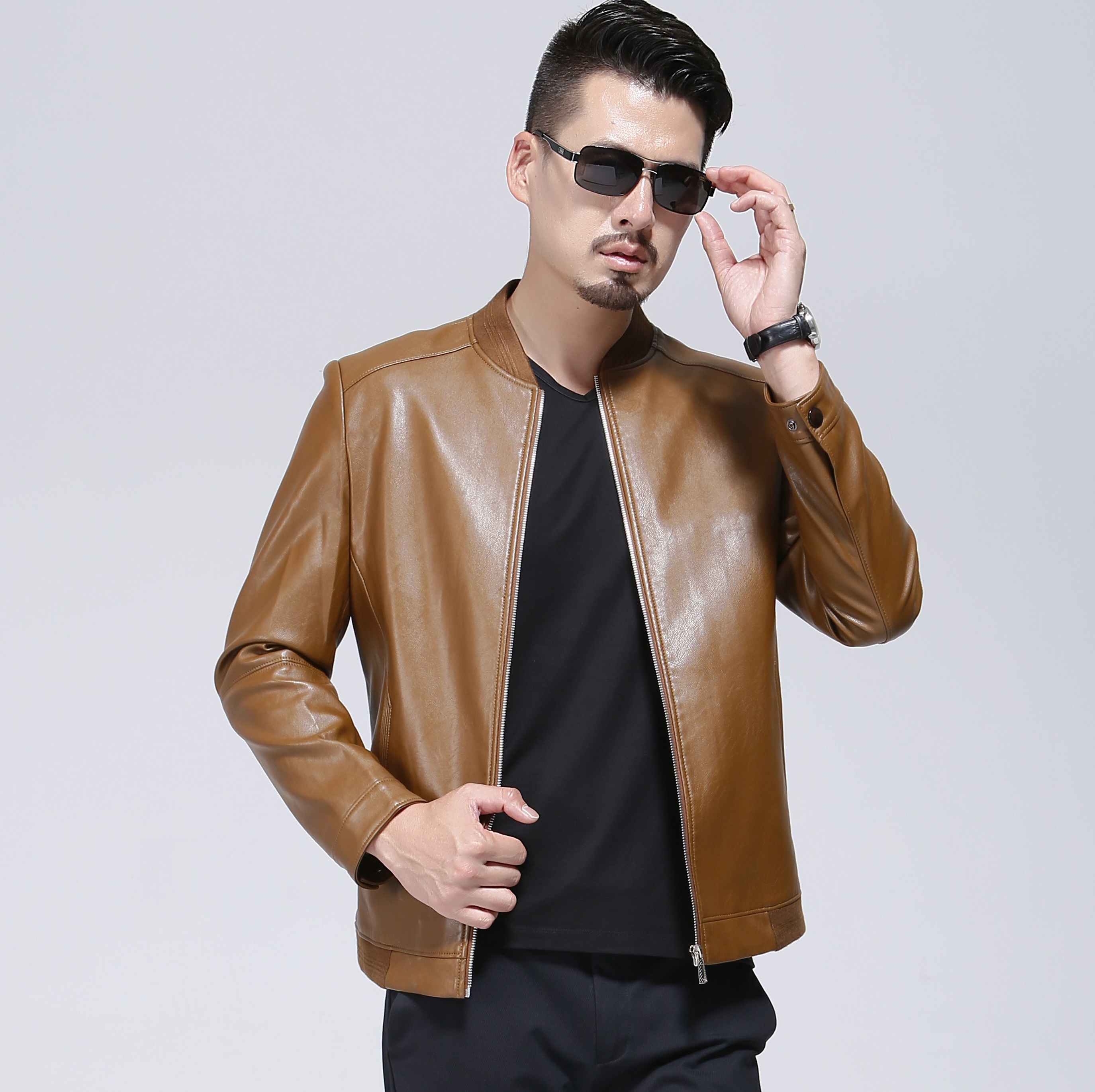 Homme Cuir Veste Noir Manteau bleu Mode Nouvelle jaune Automne Jeune De  Printemps Et En Décontractée ... 5bc0ddfc4ce