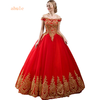Abule Wedding Dress Red Lace Up Golden Africa Lace Luxurious Sleeveless Wedding Gowns Bridal Vestido De