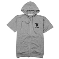 2016 New Arrival Death Note Coat Short Sleeve Hooded Jacket Men Thin Tops Boys Clothes Mens