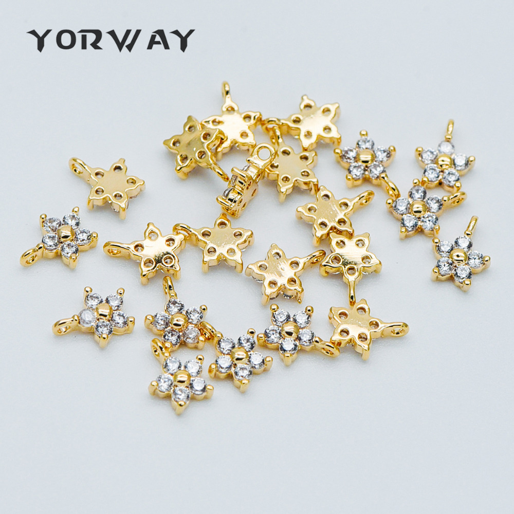 Gold plated Brass Gingko Pendants 14x21.5mm GB-1313 4pcs CZ Paved Gold Gingko Leaf Charms