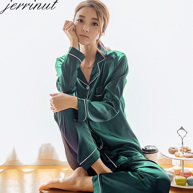 Jerrinut   Pajamas   For Women Sexy Silk   Pajamas     Set   Pigiama Donna Inverno Pyjama Femme Satin Sexy Sleepwear   Set   Home Clothes