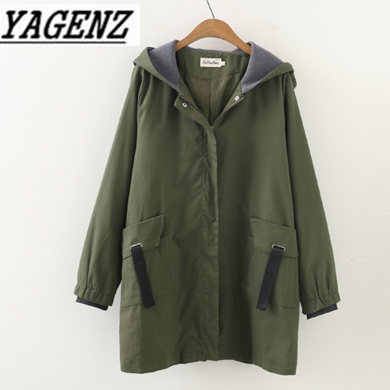 Female windbreaker 2018 Korea Spring autumn Loose Long sleeved Lady outerwear coats Casual Large size Hooded