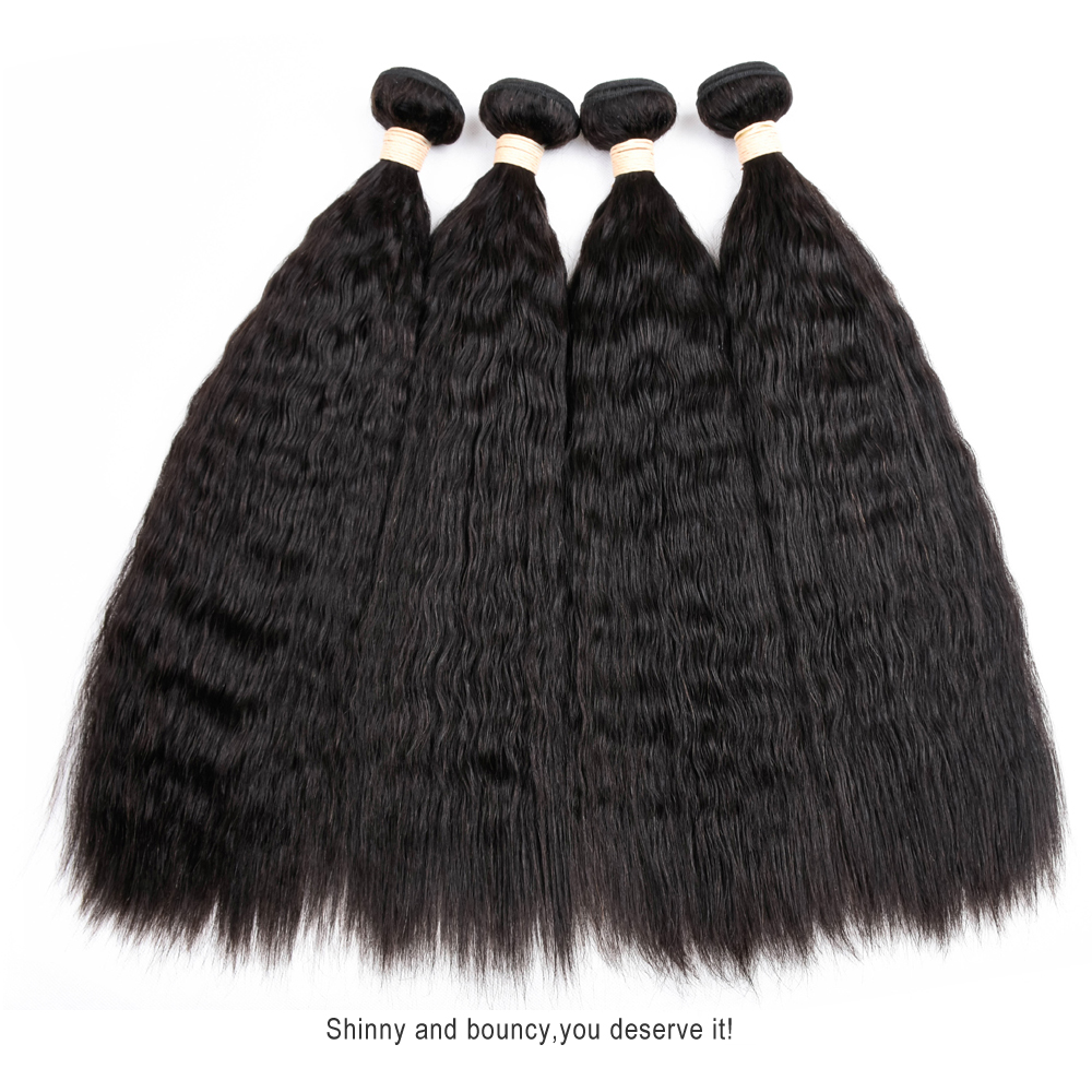 Mslove Hair Peruvian Kinky Straight Hair Weave Bundles Human Hair Extensions Coarse Yaki Non Remy Hair Natural Color