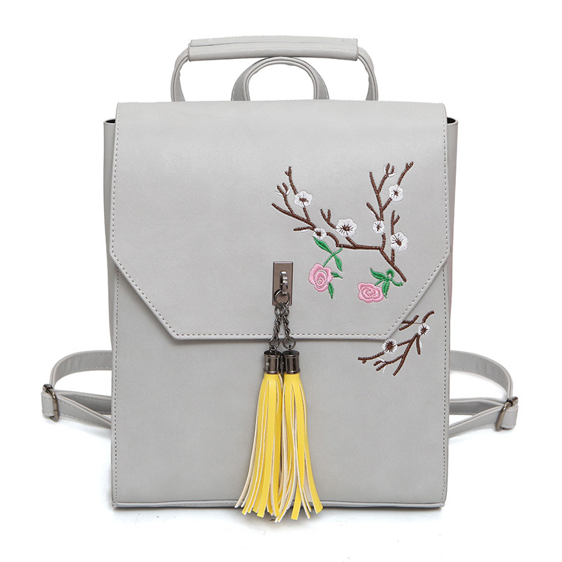 2017 Women Flowers Embroidery Backpacks Satchels Fashion Korean PU Leather Tassel Backpack for Teenage Girls School