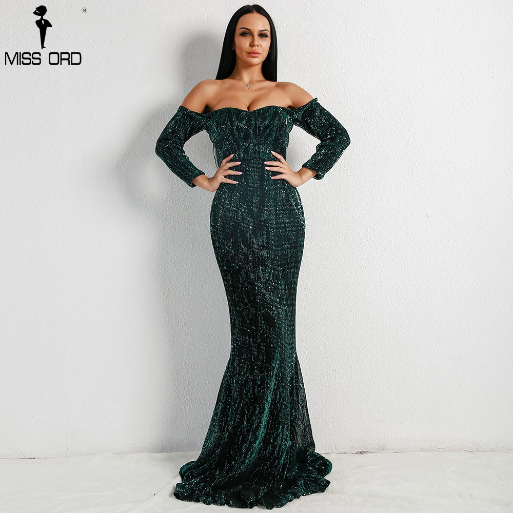 Missord 2019 Sexy BRA Long Sleeve Off Shoulder Sequin Backless Dresses Women  Skinny Maxi Party Elegant c81d55d2c04b