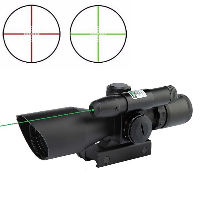 2.5-10x40 portée de fusil Laser vert viseur réflexe rouge et vert double illuminé Mil-dot viseur tactique Compact Laser lunette de visée