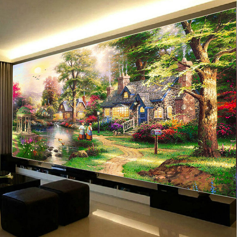 5D Diy Diamond Painting Dream Home Landscape Full Round Embroidery Diamont Paintings Cross Stitch Kits Home Decor Needlework