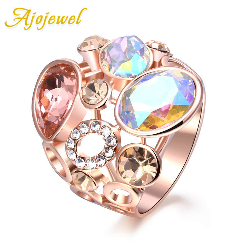 Ajojewel Hollow Out Hyperbole Design Multicolor Beautiful Cubic Zircon Rings For Women Fashion Bijoux Birthday Gift