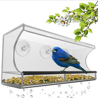 CLEAR GLASS WINDOW VIEWING BIRD FEEDER HOTEL TABLE SEED PEANUT HANGING SUCTION Window Bird Feeders