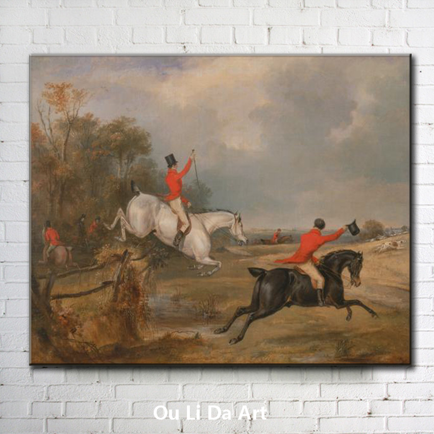 classical court figures man riding horse game scenery oil painting canvas printing printed on canvas wall art decoration picture