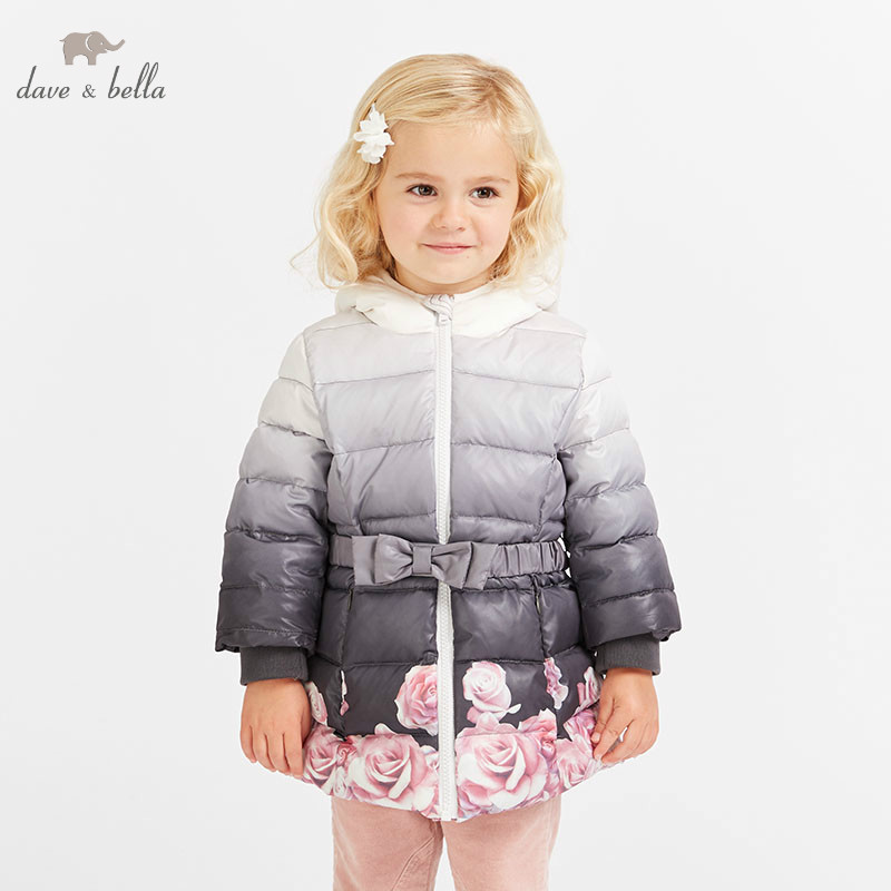 цена DB8577 dave bella winter baby girls flowers hooded coat infant padded jacket children high quality coat kids padded outerwear