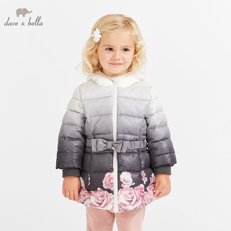 все цены на DB8577 dave bella winter baby girls flowers hooded coat infant padded jacket children high quality coat kids padded outerwear