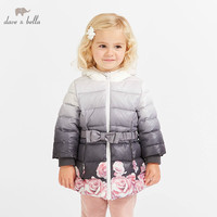DB8577 dave bella winter baby girls flowers hooded coat infant padded jacket children high quality coat kids padded outerwear
