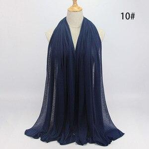Image 3 - Nuovo hijab Musulmano donne islamiche hijab Musulmano Della Sciarpa Elastica sciarpa in jersey di cotone morbido scialli sciarpe pianura
