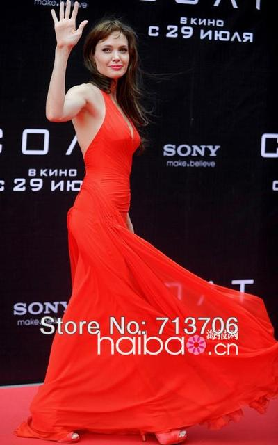 Halter Blackness V-Neck Free Shipping High Quality Material Chiffon Noble Red Carpet V-Neck Celebrity Dresses