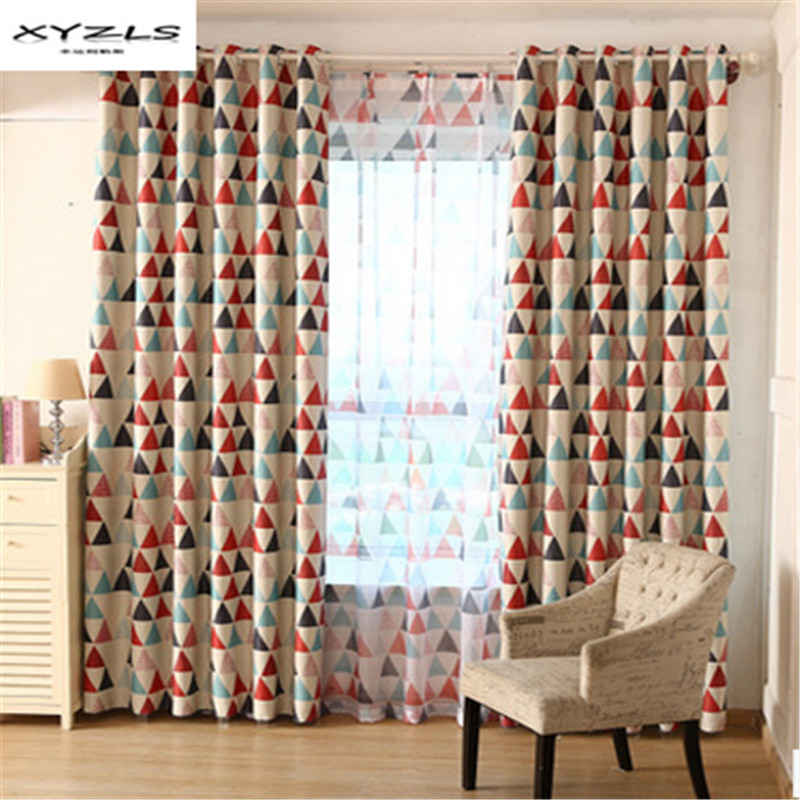 XYZLS Triangular Pastoral Style Window Shade Thick Blackout Curtains for Living Room the Bedroom Window Treatment Panel Drape