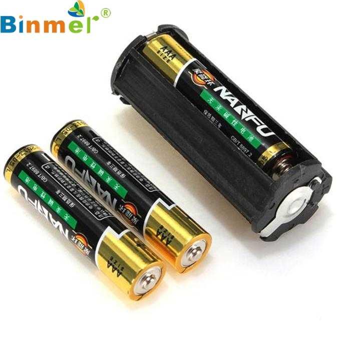 Binmer Simplestone noir cylindrique 3 AAA support de batterie en plastique adaptateur boîtier boîte lampe de poche 0117