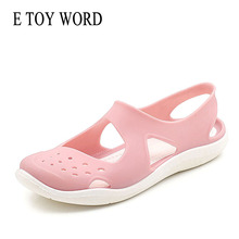 E TOY WORD Jelly shoes Women's Summer Shoes slip-on Soft Baotou Hollow Out Beach Woman Flats Sandals 2019 Summer Women sandals