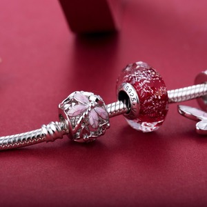 Image 4 - Pink dragonfly style beads  925 Sterling Silver beads charms fit Bracelets Never change color DDBJ018 F
