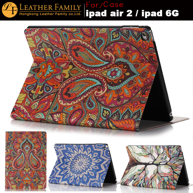 New Arrival Slim Thin PU Leather Case For Apple iPad Air 2 Case Stand Protector Skin For iPad 6 cover color print nation style