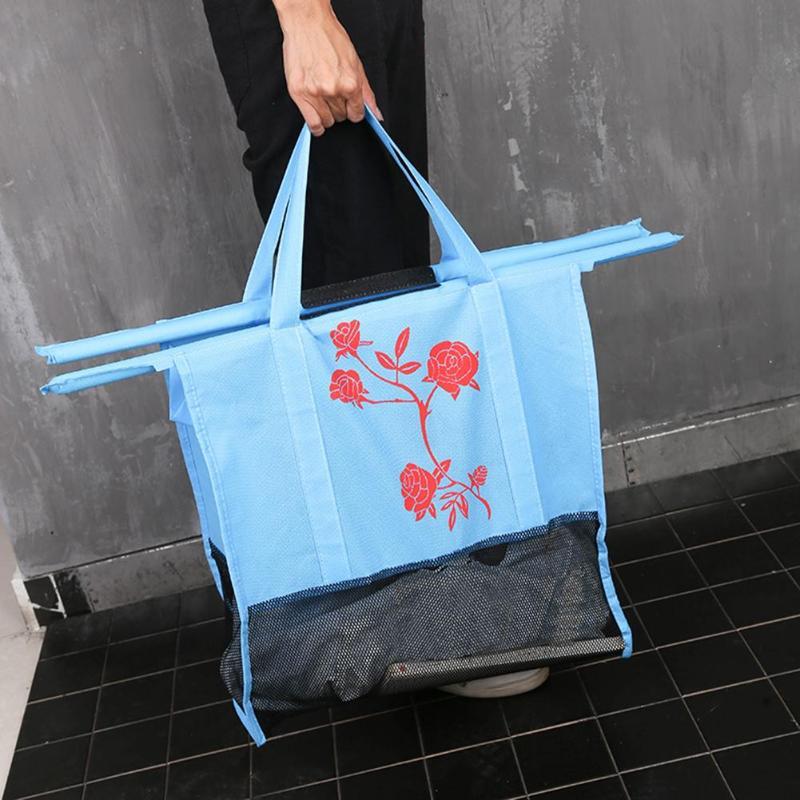 4pcs/Set Foldable Cart Trolley Storage Bags Women Shopping Bag Environmental Reusable Thicken Non-Woven Supermarket Storage Bag