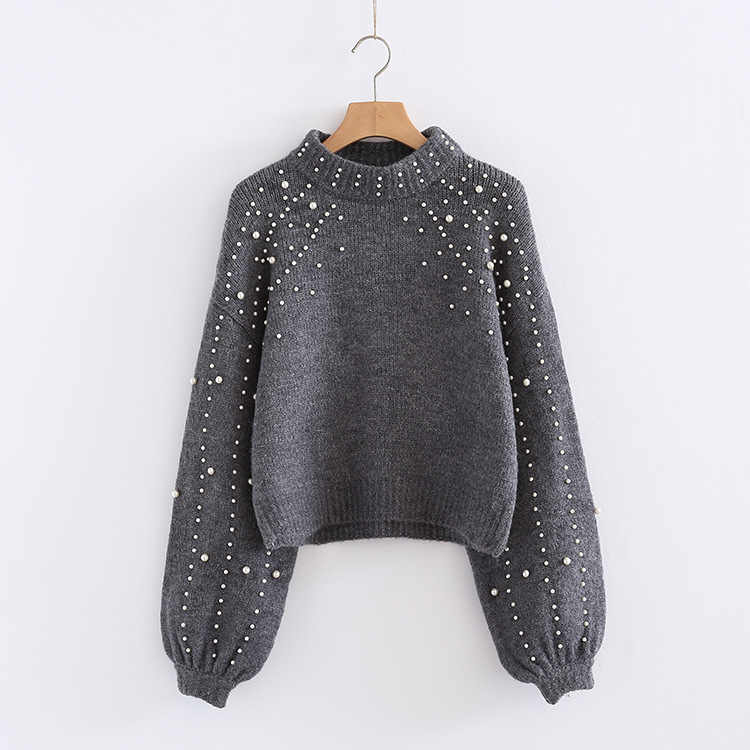 European and American fashion selling sets winter round collar loose sweater knit female ladies brief paragraph pearl decoration