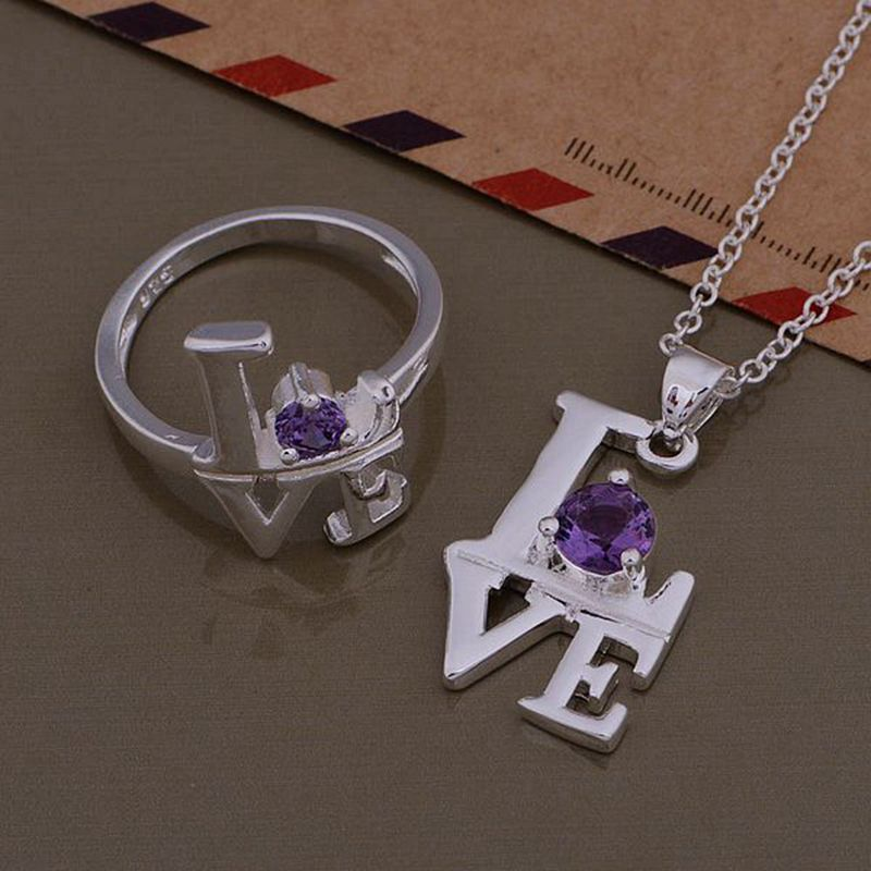 Silver plated jewelry sets, silver jewelry set love heart love cute purple zircon Ring Necklace /RDSSUCJU