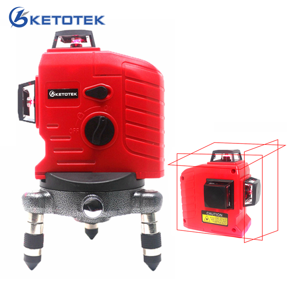 KETOTEK 12 lines Red Laser Level 3D 360 degrees Laser Level Horizontal Vertical Cross Powerful Auto Self Leveling Beam Line firecore a8846 mini 4 lines 360 degrees red laser level auto self levelling in the range of 3 degrees