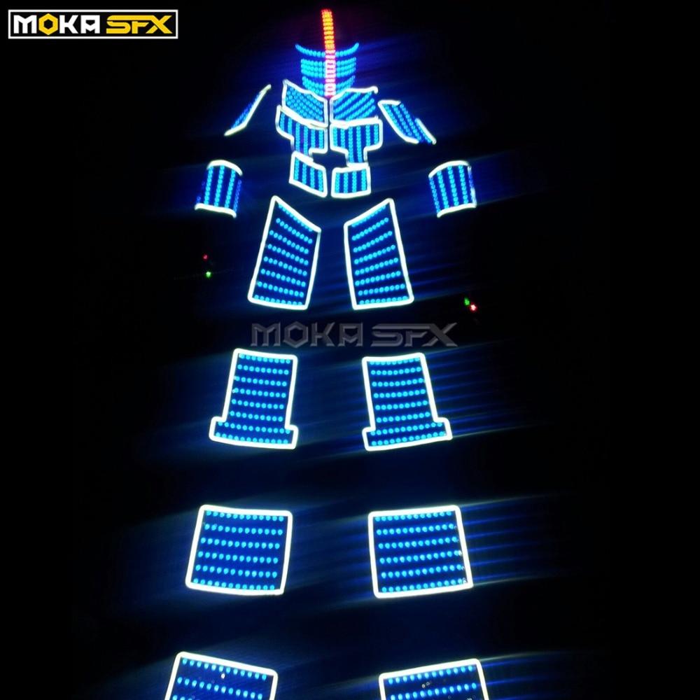 Işıklar ve Aydınlatma'ten Sahne Aydınlatması Efekti'de LED Robotlar Kostümleri Renkli LED ışık Robot Işık Takım Elbise Uzunbacak Sahne Elbise için Uzaktan Kumanda Dans Müzik DJ Bar Göster title=