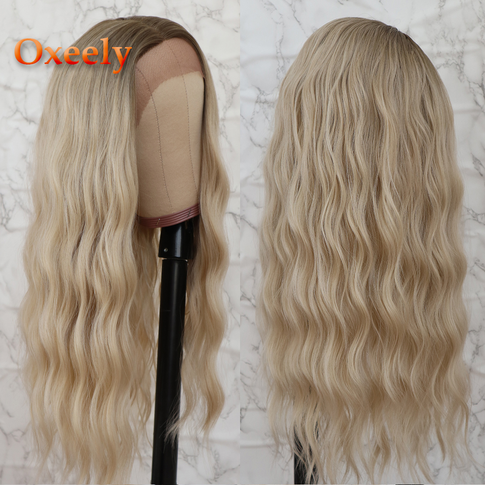 Oxeely Platinum Brown Long Loose Wave Hair Lace Wigs Free Part Glueless Blonde Wavy Synthetic Lace Front Wigs For Black Women