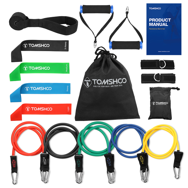 TOMSHOO 17Pcs Resistance Band Set Gym Strength Training Rubber Loops Band Workout Fintess Exercise Bands Door Anchor Ankle Strap