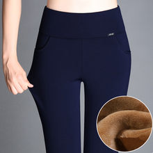 Plus Größe 5XL 6XL Winter Warm Dicken Gold Samt Hosen Schlanke Hohe Taille Stretch-Fleece Bleistift Hosen Weibliche Blau Stiefel leggings(China)