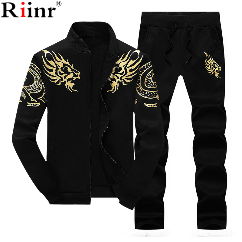 Riinr New Tracksuits Men's Set Thicken Fleece Hoodies + Pants Suit Spring Sweatshirt Sportswear Sets Male Hoodie Sporting Suits