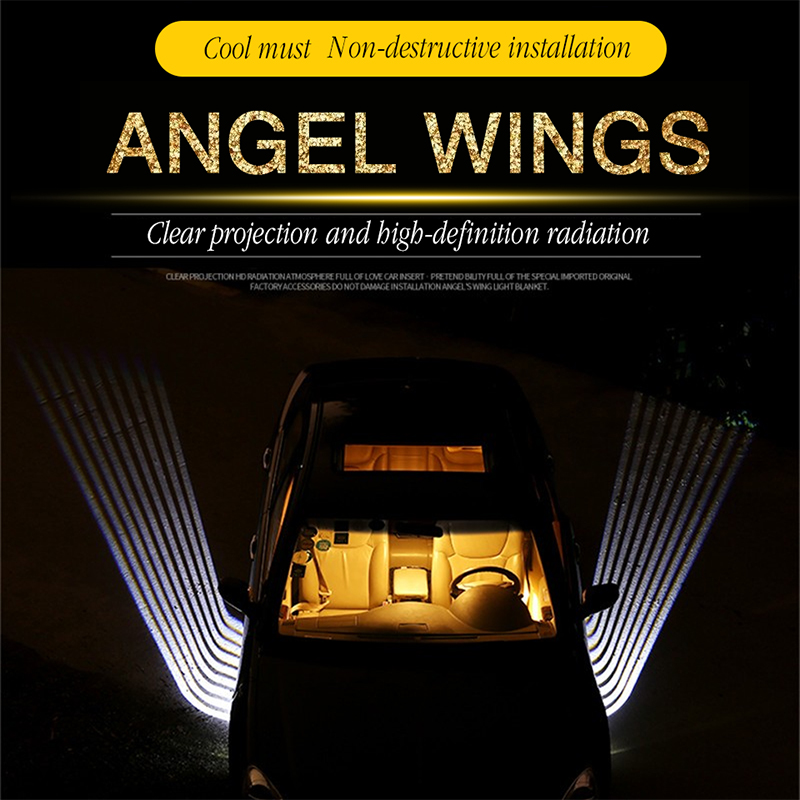 2Pcs Angel Wings Car Light Shadow Light Projector Car LED Door Warning Light Lamp for motorbike or car Special car light 12V
