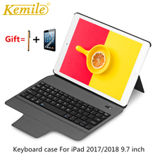 kemile Ultra Slim Bluetooth Keyboard with Stand Leather Case Cover tablet Keypad klavye For iPad Pro 9.7 & For New iPad 2017 removable bluetooth keyboard fold leather case cover stand for chuwi hi8 hi8 pro new tablet 8inch cover case with keyboard
